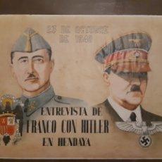 Carteles Guerra Civil: CARTEL ENTREVISTA FRANCO CON HITLER EN HENDAYA 41 X 29 CM. Lote 253936155