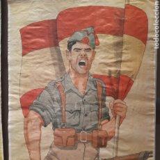 Carteles Guerra Civil: CARTEL VALOR SOLDADO CON BANDERA 41 X 29 CM. Lote 253958525