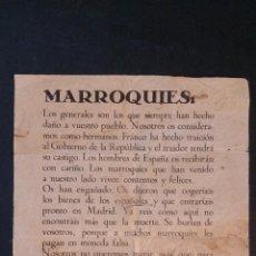 Carteles Guerra Civil: 1938 - MILICIAS POPULARES HACEN LLAMAMIENTO A LOS MARROQUÍES PARA QUE SE PASEN AL BANDO REPUBLICANO. Lote 263255645
