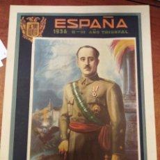 Carteles Guerra Civil: CARTEL LITOGRÁFICO DE CARTÓN. (FRANCO) ESPAÑA 1938 II- 111 AÑO TRIUNFAL 36X48 CM. Lote 272901208
