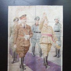 Carteles Guerra Civil: 10 CUPONES RACIONAMIENTO DE CALZADILLA DE LOS BARROS, BADAJOZ. ADOLF HITLER. FRANCISCO FRANCO.. Lote 277457963