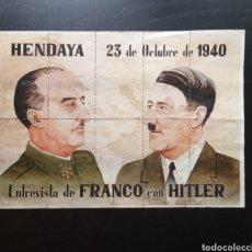 Carteles Guerra Civil: 10 CUPONES RACIONAMIENTO DE VALLADOLID. FRANCISCO FRANCO, ADOLF HITLER. HENDAYA.. Lote 277458213