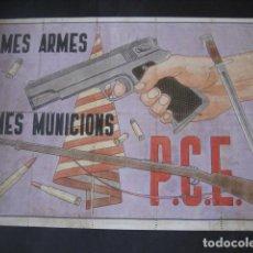 Affiches Guerre Civile: VALES CUPONES RACIONAMIENTO MES ARMES MES MUNICIONS P.C.E. RIPOLL GERONA 1937. Lote 284094873
