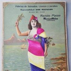 Cartazes Guerra Civil: IMPRESIONANTE CARTEL LA REPUBLICA CON PUBLICIDAD ANIS MAGALLON - ZARAGOZA - SOBRE CARTON. Lote 291894853