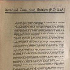 Carteles Guerra Civil: FOLLETO POLÍTICO JUVENTUD COMUNISTA ( POUM), JUNIO 1937. Lote 292121173