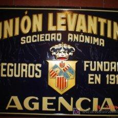 Carteles: CHAPA GRANDE DE SEGURO LA UNIÓN LEVANTINA.......DE G.ANDREIS,,, MEDIDAS 70X50 CMS. Lote 26160899