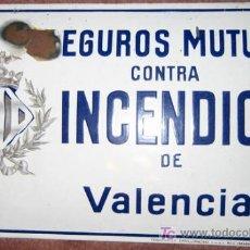 Carteles: CHAPA SEGUROS MUTUOS CONTRA INCENDIOS DE VALENCIA, ESMALTE Nº 2. Lote 27097016
