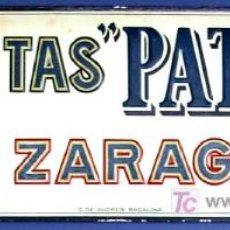 Carteles: CHAPA METALICA GALLETAS PATRIA, ZARAGOZA. FABRICANTE: G. DE ANDREIS, BADALONA.. Lote 26646233