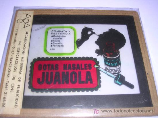 CRISTAL PUBLICITARIO GOTAS NASALES JUANOLA, PUBLICIDAD EN ESPECTACULOS DE CINE AGA (Coleccionismo - Carteles y Chapas Esmaltadas y Litografiadas)