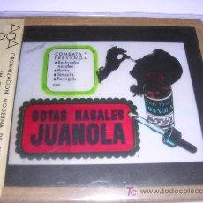 Carteles: CRISTAL PUBLICITARIO GOTAS NASALES JUANOLA, PUBLICIDAD EN ESPECTACULOS DE CINE AGA. Lote 6838389