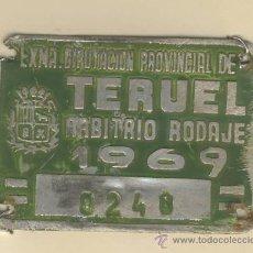 Carteles: MATRICULA DE CARRO -ARBITRIO DE RODAJE- CARRO-TERUEL- 0248-AÑO 1969. Lote 12571921