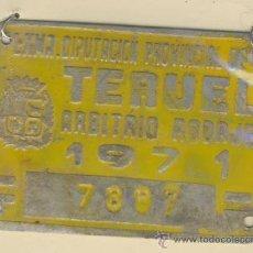 Carteles: MATRICULA DE CARRO -ARBITRIO DE RODAJE- CARRO-TERUEL- 7897-AÑO 1971. Lote 12571922