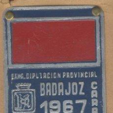 Carteles: MATRICULA DE CARRO-ARBITRIO RODAJE CARRO-DIP. BADAJOZ.-AÑO 1967- NºVIRJEN-BADAJOZ-. Lote 18125665