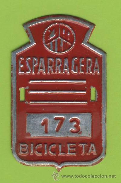 MATRICULA DE BICICLETA- - ESPARRAGUERA-CON PORTA AÑOS VARIABLE (Coleccionismo - Carteles y Chapas Esmaltadas y Litografiadas)