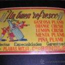 Carteles: PUBLICIDAD EN CARTON - ¡¡ UN BUEN REFRESCO !! GASEOSA PLAMI, PLANAS MITJA, BAÑOLAS, . Lote 14798198