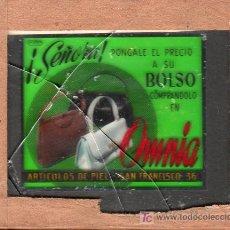 Carteles: PUBLICIDAD. CRISTAL PUBLICITARIO DE PROYECTOR DE CINE. BOLSOS OMNIA.. Lote 18817843