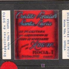 Carteles: PUBLICIDAD. CRISTAL PUBLICITARIO DE PROYECTOR DE CINE. CREDITO POPULAR SANTA LUCIA.. Lote 25226901