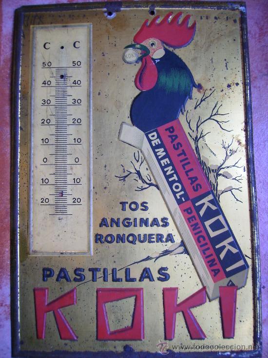 MAGNIFICA CHAPA PUBLICIDAD 25X17 PASTILLAS KOKI TOS ANGINAS Y RONQUERA HIJOS DE G. BERTRAN BARNA (Coleccionismo - Carteles y Chapas Esmaltadas y Litografiadas)