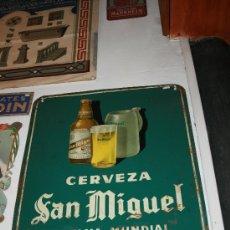 Carteles: CHAPA CON PUBLICIDAD DE CERVEZA SAN MIGUEL DE FAMA MUNDIAL. PILSENER CRISTAL MEDIDAS: 70 X 48 CM.. Lote 26182784