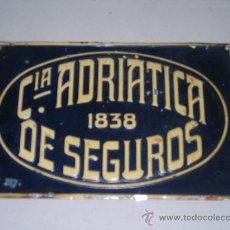 Carteles: (M) CHAPA DE SEGUROS - CIA ADRIATICA DE SEGUROS 1838, LIT. G DE ANDREIS, BADALONA, ANTIGUA. Lote 26213087