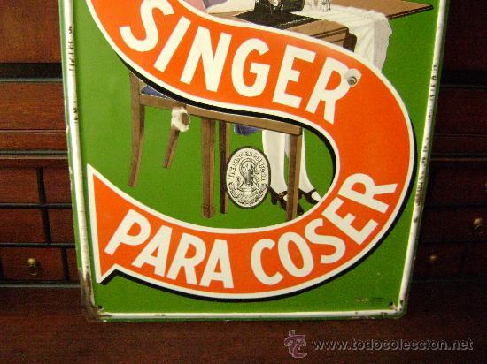 Carteles: GRAN CHAPA ESMALTADA MAQUINA DE COSER SINGER - Foto 2 - 26340518