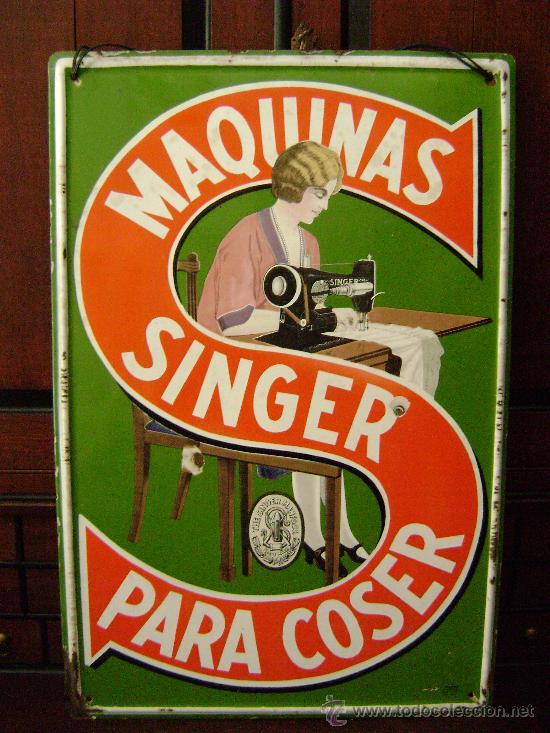Carteles: GRAN CHAPA ESMALTADA MAQUINA DE COSER SINGER - Foto 3 - 26340518