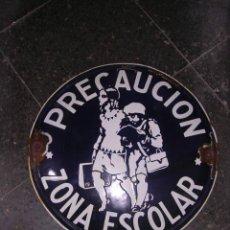 Carteles: REPUBLICA,GUERRA CIVIL,ENSEÑANZA,-CHAPA ESMALTADA, REDONDA, -50 CM.-PRECAUCION ZONA ESCOLAR, . Lote 26392890