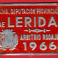 Carteles: CHAPA ARBITRIO RODAJE , CARRO , LERIDA 1966 DIPUTACION PROVINCIAL, ORIGINAL ,C6. Lote 26961902
