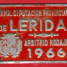 Carteles: CHAPA ARBITRIO RODAJE , CARRO , LERIDA 1966 DIPUTACION PROVINCIAL, ORIGINAL ,C9. Lote 26961913
