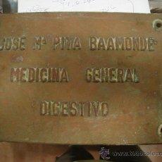 Carteles: CHAPA DE BRONCE DE JOSE MARIA PITA BAAMONDE. MEDICINA GENERAL. DIGESTIVO. 1´585 KG. 30X20.. Lote 28305289