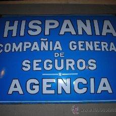 Carteles: (M) CHAPA ESMALTADA - HISPANIA COMPAÑIA GENERAL DE SEGUROS - AGENCIA - H MOREAU - PARIS. Lote 28521701