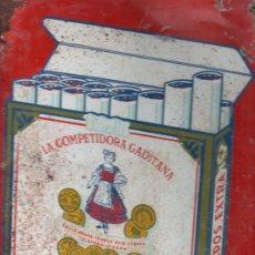 Carteles: TABACO. CHAPA DE DOS CARAS DE LA COMPETIDORA GADITANA. PUBLICITARIA. MEDIDAS: 31 X 25CM.. Lote 29130624