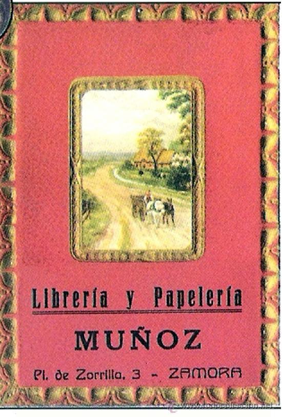 AÑOS 1940.- CABECERA DE ALMANAQUE DE CARTON CON PUBLICIDAD - LIBRERIA Y PAPELERIA MUÑOZ DE ZAMORA - (Coleccionismo - Carteles y Chapas Esmaltadas y Litografiadas)