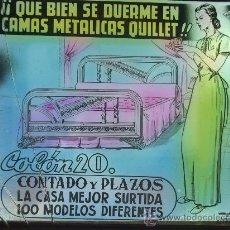 Carteles: CRISTAL PUBLICIDAD : CAMAS METÁLICAS QUILLET.. Lote 32488493