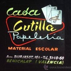 Carteles: CRISTAL PUBLICIDAD : PAPELERÍA CASA CUTILLA.. Lote 32488857