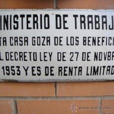 Carteles: CHAPA ESMALTADA MINISTERIO DE TRABAJO RENTA LIMITADA TAMAÑO 40 X 20 CNTº. Lote 32711762