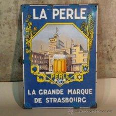 Carteles: CHAPA ESMALTADA. LA PERLE STRASSBURG. FRANCIA 1930 - 1935. (BRD). Lote 35543124