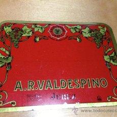 Carteles: CHAPA METALICA DE VINOS A.R. VALDESPINO. JEREZ. 12X9CM. Lote 36517636