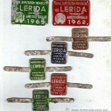 Carteles: LOTE DE 7 CHAPAS METALICAS EXMA.DIPUTACION DE LERIDA-ARBITRIOS RODAJE-AÑOS 60/70. Lote 37125126