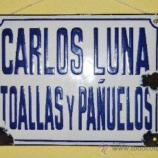 Carteles: CHAPA ESMALTADA - CARLOS LUNA - TOALLAS Y PAÑUELOS - FABRICADA POR M. GRANOIN. Lote 37618565