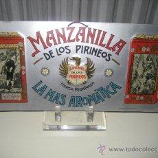 Carteles: ANTIGUA CHAPA METAL AÑOS 20/30. MANZANILLA DE LOS PIRINEOS. PUEYO BERDON. BALNEARIO DE PANTICOSA. Lote 37801008
