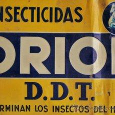 Carteles: CARTEL EN CHAPA CON RELIEVE DE INSECTICIDA ORION AÑOS 40-50. Lote 37961406