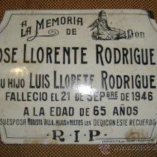 Carteles: TREMENDA CHAPA ESMALTADA DE CEMENTERIO,ORIGINAL,,ES LA DE LA FOTO. Lote 38648184