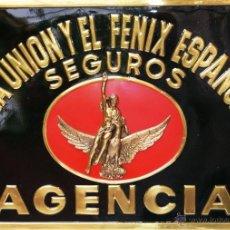 Carteles: CARTEL DE CHAPA BONITA PLACA LA UNION Y EL FENIX ESPAÑOL SIN ESTRENAR DESDE EL AÑO 1940 - 70*50 CM.. Lote 39424559