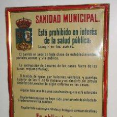 Carteles: ANTIGUA CHAPA DE HOJALATA LITOGRAFIADA AÑOS 20 APRX. - SANIDAD MUNICIPAL DEL AYUNTAMIENTO DE MADRID . Lote 38259976