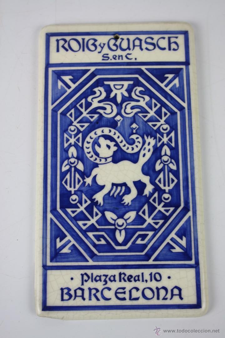 LOZA ESMALTADA 'ROIG Y GUASCH S. EN C. BARCELONA - ESTAMPACIÓN RECLAMOS J. VILARO - PRINC. S.XX (Coleccionismo - Carteles y Chapas Esmaltadas y Litografiadas)
