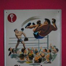 Carteles: CHAPA PUBLICITARIA DE 1954 CHOCOLATES EUDOSIO LÓPEZ(LA LLAVE)VALLADOLID RAREZA ORIGINAL PERFECTA. Lote 133149875