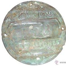 Carteles: ANTIGUA CHAPA MATRICULA DE CARRETONES, CARROS, FIGUERAS . Nº 158. 8 CM FIGUERES. Lote 41254210