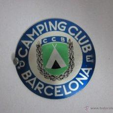 Carteles: CHAPA PUBLICIDAD CAMPING CLUB BARCELONA - (V-268). Lote 41335477