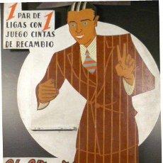 Carteles: CARTEL TROQUELADO 'LIGAS INTERMINABLES PLUS-ULTRA'. 56 X 87 CM. CA. 1930. Lote 42542910